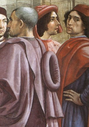 Domenico Ghirlandaio - St Francis cycle, Resurrection of the Boy (detail 1, portrait of Ghirlandaio, 2nd from right)