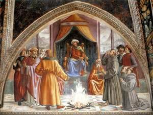 Domenico Ghirlandaio - St Francis cycle, Test of Fire before the Sultan