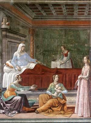 Domenico Ghirlandaio - Birth of St John the Baptist (detail)