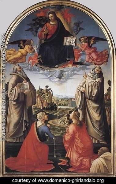Domenico Ghirlandaio - Christ in Heaven with Four Saints and a Donor c 1492