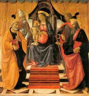 Domenico Ghirlandaio - Madonna and Child Enthroned with Saints c. 1479