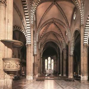 Domenico Ghirlandaio - View Along The Nave To The Tornabuoni Chapel