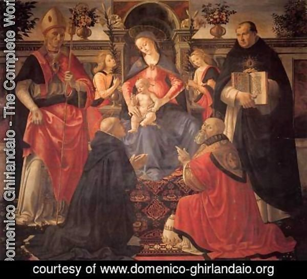 Domenico Ghirlandaio - Madonna and Child Enthroned between Angels and Saints c. 1486