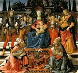 Domenico Ghirlandaio - Madonna and Child Enthroned with Saints c. 1483