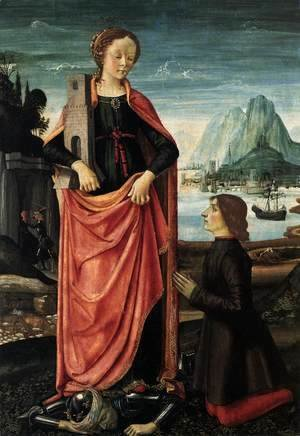 Domenico Ghirlandaio - St Barbara Crushing her Infidel Father, with a Kneeling Donor c. 1473